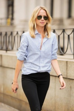 Striped shirts, Black aviators and Tomboys on Pinterest
