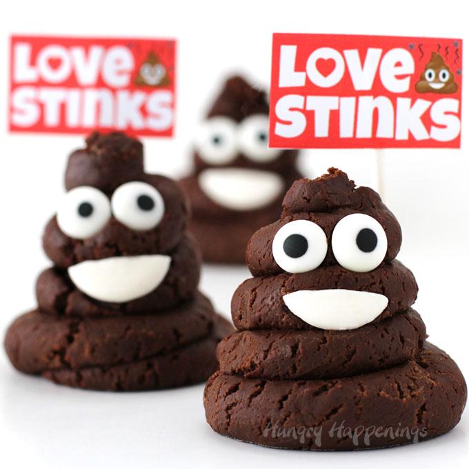 Chocolate Caramel Fudge Smiling Poo Emoji – Love Stinks Valentine