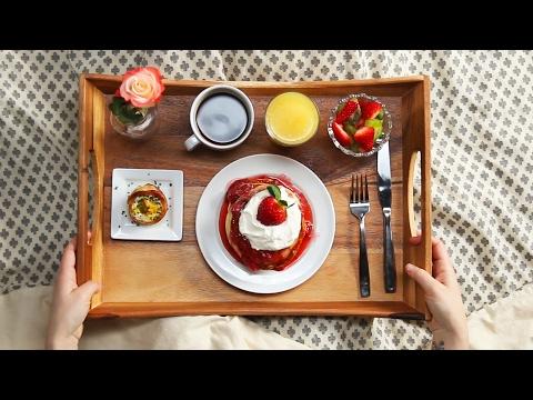 Strawberry Shortcake Pancake Breakfast In Bed – YouTube